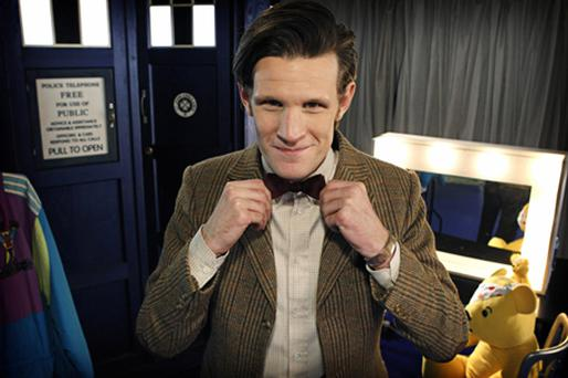 Doctor Who star Matt Smith, wearing the suit which is set to raise thousands of pounds in a charity auction for Children in Need. Photo: PA