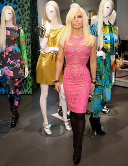 Donatella Versace attends the Versace for H&M launch in Regent Street on November 17, 2011 in London, England.