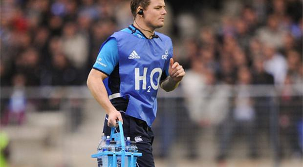 W ater carrier Brian O' Driscoll during Leinster's Heineken Cup clash with Montpellier on November 12. Photo: Sportsfile