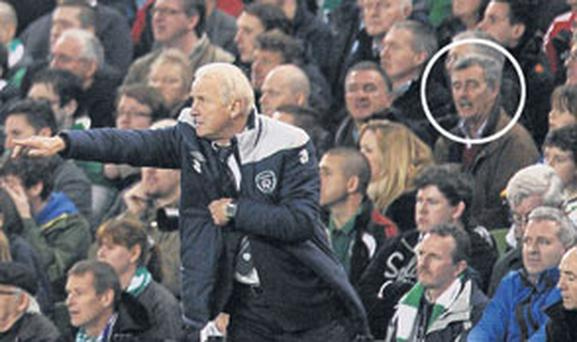 SPOTTED: Brigadier-General Paul Pakenham in the crowd at the Aviva Stadium, Dublin, last Tuesday night