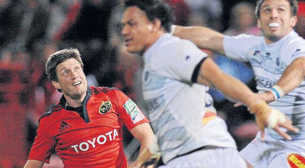 Munster's Ronan O'Gara watches his last minute winning drop-goal. Photo: Diarmuid Greene