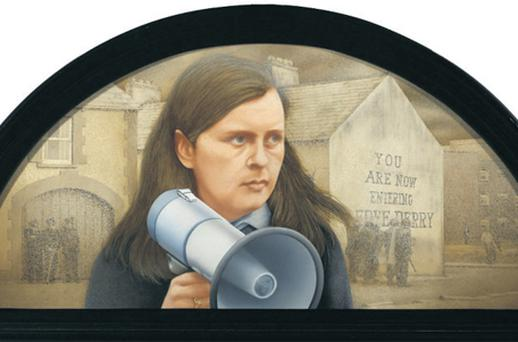 A portrait of Bernadette Devlin is being removed for auction from the clubhouse of the Druids Glen Golf course, inset, in Co Wicklow