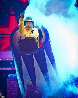 Russell Grant is launched from a cannon on saturday night's Strictly.