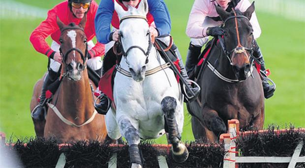 Thousand Stars, with Ruby Walsh up, on the way to winning the Morgiana Hurdle from Oscars Well (Robert Power, right) and Pittoni (Davy Russell) at Punchestown yesterday