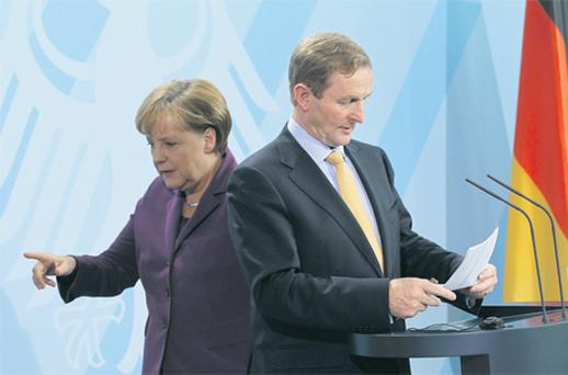 Taoiseach Enda Kenny and German Chancellor Angela Merkel following talks last week in Berlin, Germany