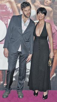Chris O'Dowd with his girlfriend Dawn Porter at the 'Bridesmaids' premiere in LA.