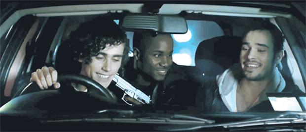 In the road-safety video, in which three young men drive at night, a loaded pistol is pointed every time the men do something dangerous