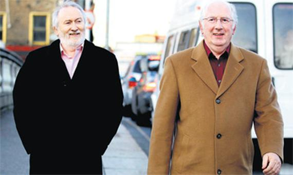 Tony Allen and Mick Foster at court yesterday