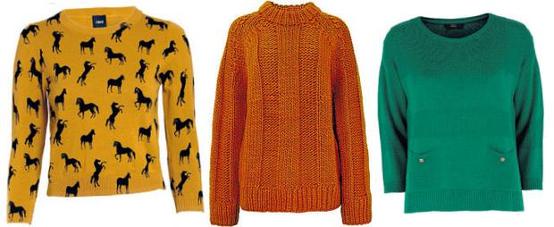 LEFT: Horse print mustard jumper, €45.66, available from www.asos.com; MIDDLE: Orange oversized rib, €69 by Cos at BT2, Grafton St and branches. Tel: 01 605 6666; RIGHT: Green fine gauge knit, €30 at Marks & Spencer, Dublin 1 and branches. Tel: 01 872 8833