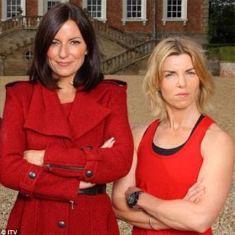 Davina McCall with Angie Dowds, a television fitness trainer who is feared to have died at Beachy Head