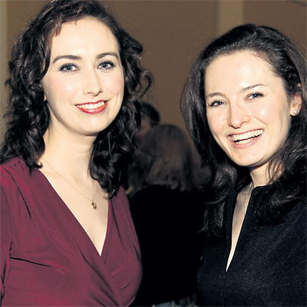 Weather presenter Karina Buckley (left) and sister Yvonne at the launch last night