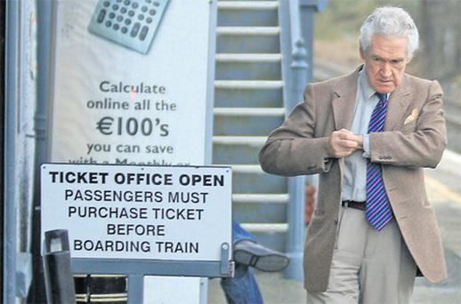 Malcolm Macarthur, waiting at platform 1 at Arklow rail station yesterday, before boarding the train for Dublin