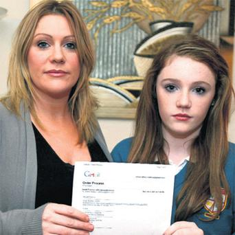 Aideen Raftery and her daughter Jordan at their home in Furbo, Galway, with an email detailing their order process