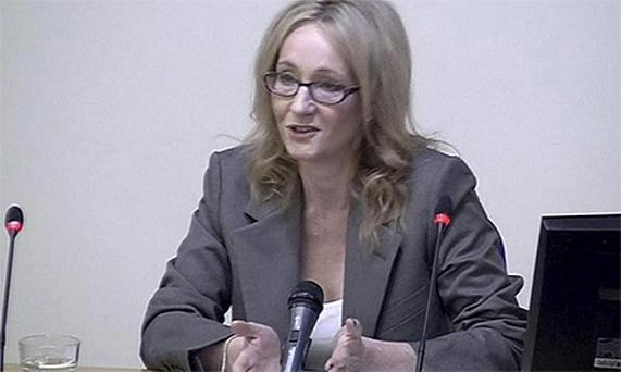 'Harry Potter' author JK Rowling gives evidence about media intrusion during a media ethics inquiry in London