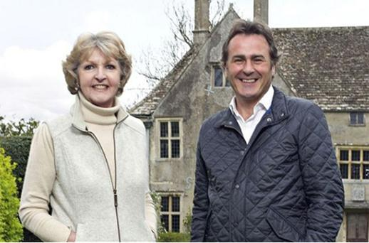The Manor Reborn: Penelope Keith and Paul Martin at Avebury Manor. Photo: BBC