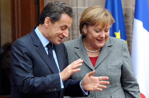 German Chanceller Angela Merkel and French Prime Minister Nicolas Sarkozy met in Strasbourg yesterday. Photo: Getty Images
