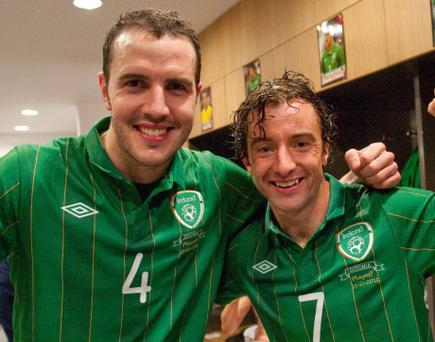 15 November 2011; Republic of Ireland's John O'Shea, left, and team-mate Stephen Hunt celebrate in the dressing room after the game. UEFA EURO2012 Qualifying Play-off 2nd leg, Republic of Ireland v Estonia, Aviva Stadium, Lansdowne Road, Dublin. Picture credit: David Maher / SPORTSFILE