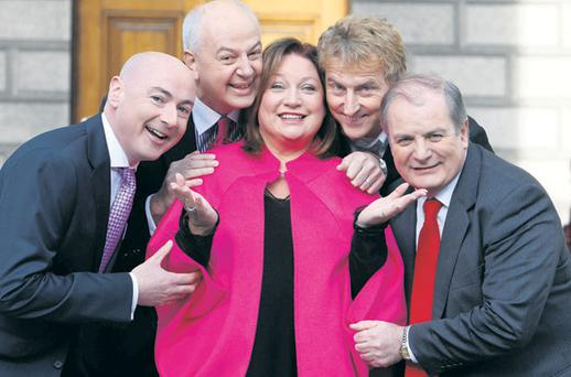 Dragons, from left, Niall O'Farrell, Bobby Kerr, Norah Casey, Sean O'Sullivan and Gavin Duffy at the launch of the new series yesterday and the introduction of Mr O'Sullivan as Sean Gallagher's replacement