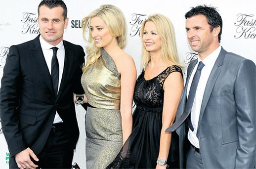 Republic of Ireland goalkeeper Shay Given, his wife Jane, Louise Speed and Wales manager Gary Speed attending a fundraiser on May 15 this year in Manchester