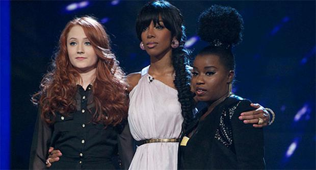 Kelly Rowland and Misha B on stage with Janet Devlin after she was voted off the X Factor