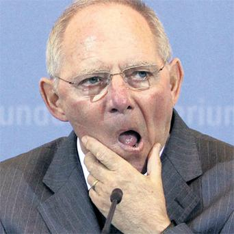 German Finance Minister Wolfgang Schäuble speaking at a meeting of the association of foreign journalists in Berlin