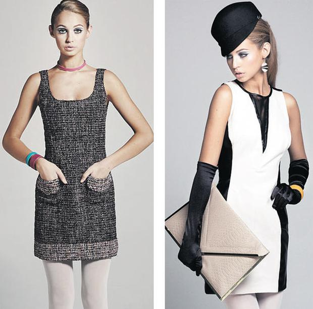Left: Tweed dress, €620, D&G, Brown Thomas; leather choker, €30, leather cuffs, €30 each, all MoMuse, Bow, Powerscourt Centre; tights, €6, shoes, €91, both Topshop; Right: Faux-leather dress, €90, Warehouse; gloves, ¤14, Accessorise; stingray-skin cuff, €65, MoMuse; clutch, €40, River Island; knee boots, €850, Jimmy Choo; <br/> All photos: Agata Stoinska; Stylist: Karl Patrick Smith; Hair & make-up: Hayley McGowan