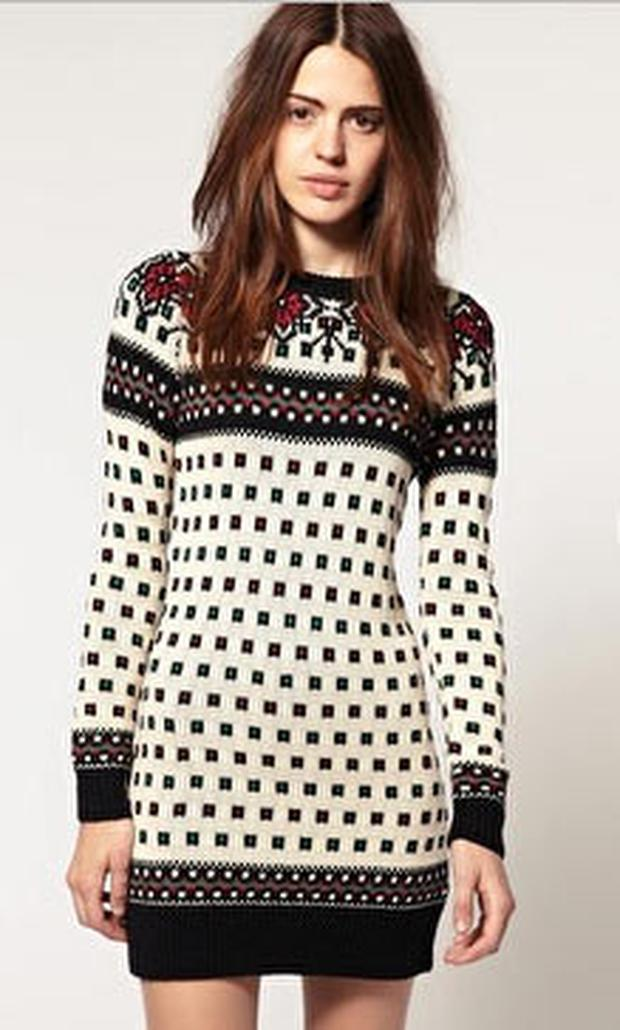 ASOS Knitted Dress With Rose Jacquard Detail