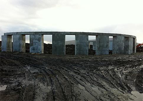 The large Stonehenge-type structure that property developer Joe McNamara has been ordered to stop building in Achill, Co Mayo