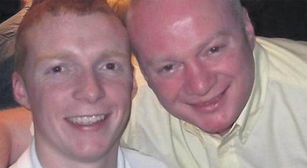 David D'Arcy (right) with his son David jnr. David senior was shot dead outside his home on Monday