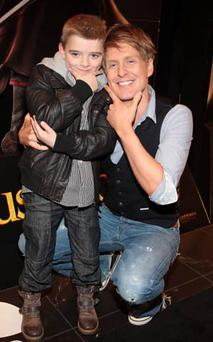 Gerard McCarthy with cousin Dylan O'Neill at the Puss in Boots premiere.