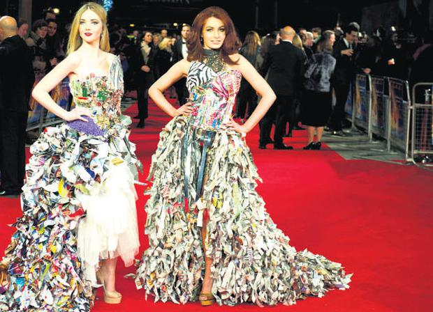 Recycled material dresses by Elisabeth O'Donnell on the red carpet in London. IAN GAVAN/GETTY