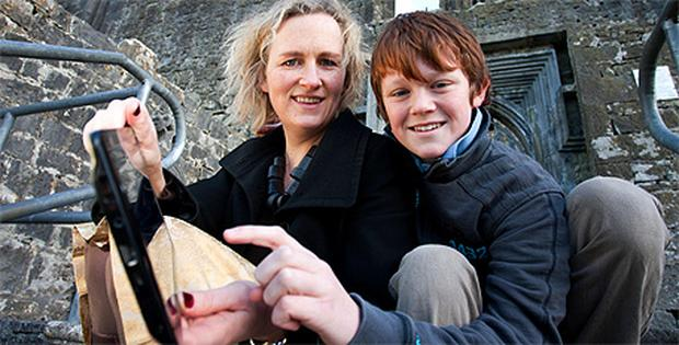 Linda O'Sullivan and her son Oisin (10) on the grounds of Quin Abbey in Quin, Co Clare.
