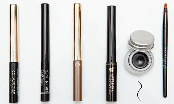 Pictured, from left: Clarins Instant Liner; Catrice Liquid Liner; Estee Lauder Liquid Eyeliner; Lancome Artliner; Maybelline New York Eye Studio Lasting Drama Gel Eyeliner (pot and brush)