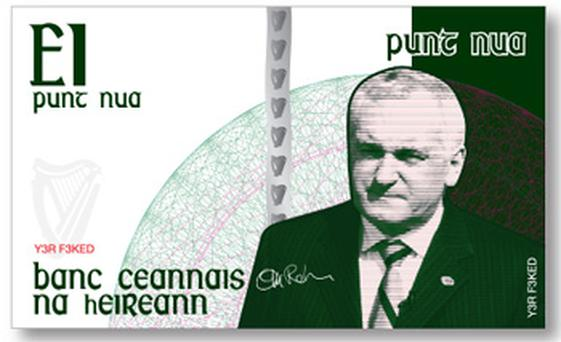 The Punt Nua £1 note featuring former Taoiseach Bertie Ahern
