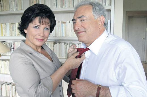 STAND BY YOUR MAN: Dominique Strauss-Kahn with his wife, Anne Sinclair