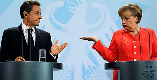 French President Nicolas Sarkozy and German Chancellor Angela Merkel will hold crunch talks in Paris today
