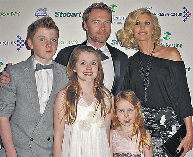 Ronan and Yvonne Keating, and their children Jack, Melissa and Ali at the Emerald and Ivy Ball in aid of Cancer Research UK and the Marie Keating Foundation in London