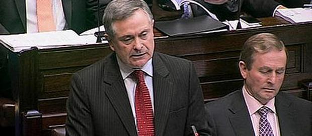 Minister Brendan Howlin giving his speech in the Dail