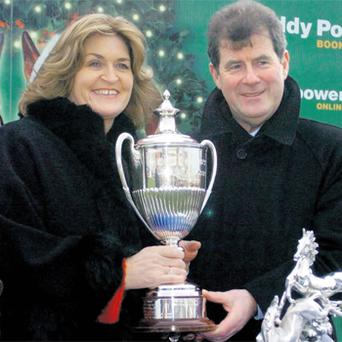 Noreen McManus and her husband JP celebrate a win at Leopardstown