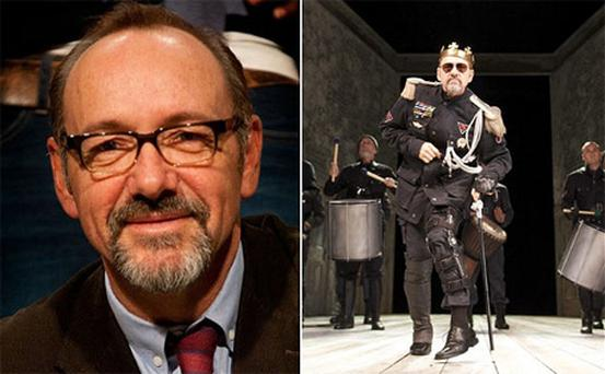Kevin Spacey (left) and on stage in Shakespeare's Richard III
