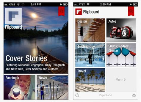 Flipboard for iPhone emphasises good pictures