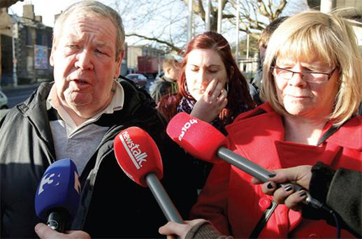 The parents of James Joyce, Patrick and Rose, and his partner and mother of his child, Alison Colgan (centre), speak outside court yesterday after Daniel McCormack was jailed for Mr Joyce's manslaughter