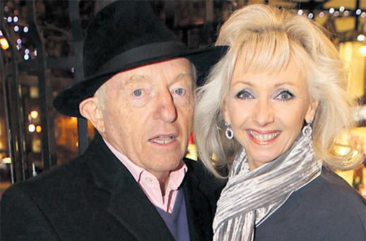 Paul Daniels and his wife Debbie Magee on their way in to see 'Robinson Crusoe' at the Gaiety last night