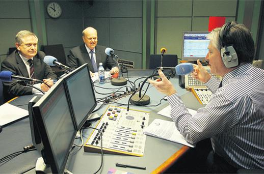 Brendan Howlin and Michael Noonan appear on the Pat Kenny show yesterday. Photo: Tom Burke