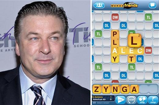 Alec Baldwin and his 'Words with Friends' board. Photo: AP