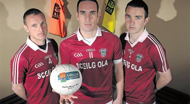 Brothers Donal, left, Declan, centre, and Dominic O'Sullivan pictured ahead of Dromid Pearses' AIB All-Ireland JFC Club quarter-final clash with Cu Chulainns of Newcastle on Sunday