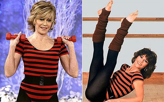 Jane Fonda at 73 years old (left) and how she looked in the same leotard in the 80s