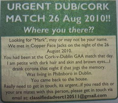 The advertisement that appeared in the Corkman