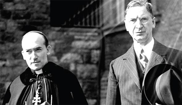 The former Archbishop of Dublin John Charles McQuaid (left) with Eamon de Valera in December, 1940. The archbishop has been accused of abuse
