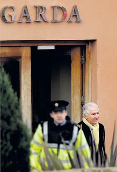 TIGHTLIPPED: Sean FitzPatrick leaving Bray garda station yesterday. Photo: Gerry Mooney